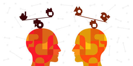 vector illustration two persons with balanced structures on their heads for sustainable relationship and communication visual