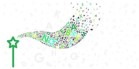 vector illustration of magic stock and letters flow for language learning or copyrighting profession visuals