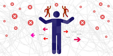vector illustration of person with two parts opposing for internal conflict problem visual Vectores