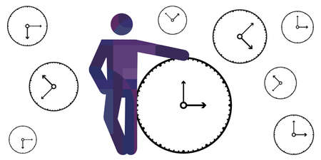 vector illustration of human silhouette and clocks time management concept and good planning  イラスト・ベクター素材