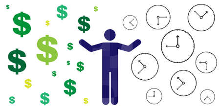vector illustration of man with money and times symbols from different side for life work balance concept