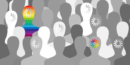 vector illustration of people with rainbow loading bars for LGBTQ community readiness and acceptance differences in gender