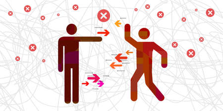 vector illustration of interpersonal conflict or two individual opposing visual