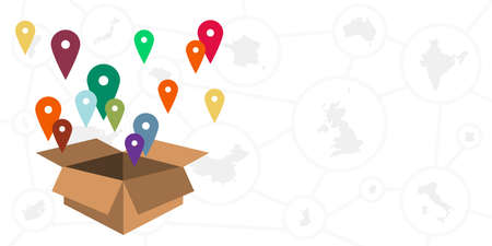 vector illustration of map pins with box for discovering destinations and international transfers visuals