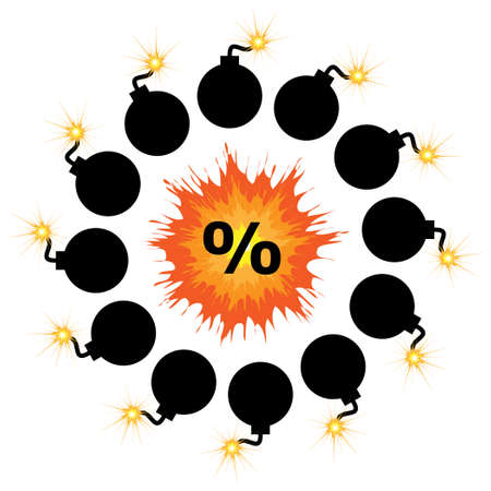 vector illustration of bright explosion with percentage symbol and bombs for discount round emblem