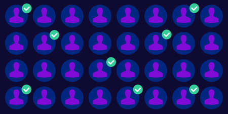 vector illustration of personal profile icons and green tick for adding friends and social media contacts