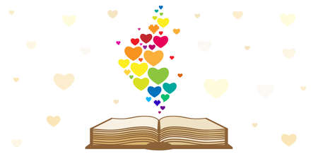 vector illustration of opened book with rainbow hearts for book lovers  イラスト・ベクター素材