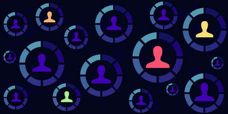 vector illustration of user profile pictures and round loading bars in dark blue color palette