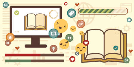 vector illustration of books and computer screen with social media symbols for digital reading and sharing