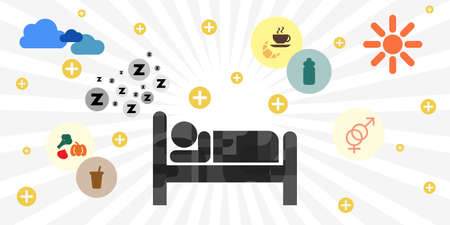 vector illustration of basic human needs with individual silhouette and symbols of food drink sleep and reproduction