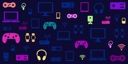 vector illustration of electronic gaming devices neon colors on dark blue background