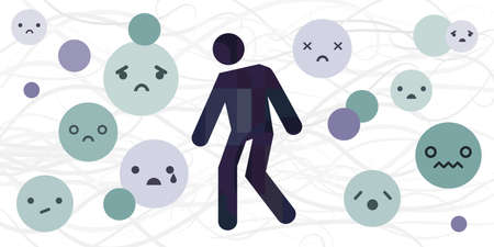 vector illustration of sadness basic emotion or feeling expression with human silhouette and emoji faces