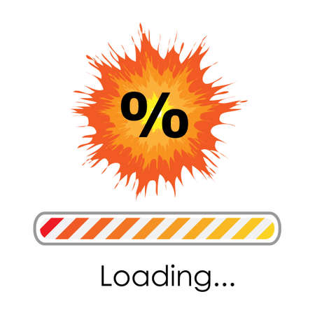 vector illustration of bright explosion with percentage symbols and loading bar for discount banner