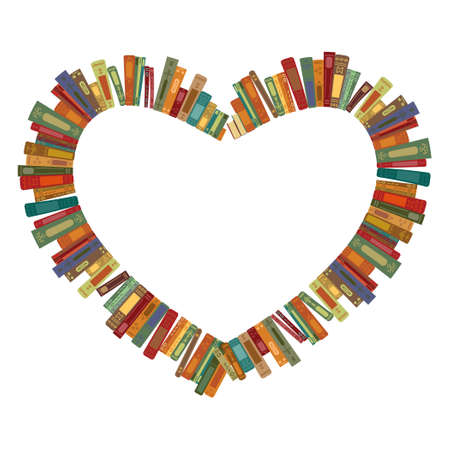 vector illustration of retro vintage color books in heart shape design for the love of reading  イラスト・ベクター素材