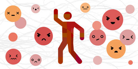 vector illustration of anger basic emotion or feeling expression with human silhouette and emoji faces
