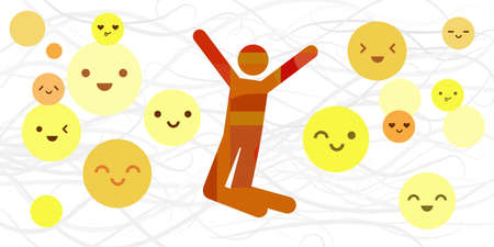 vector illustration of happiness basic emotion or feeling expression with human silhouette and emoji faces