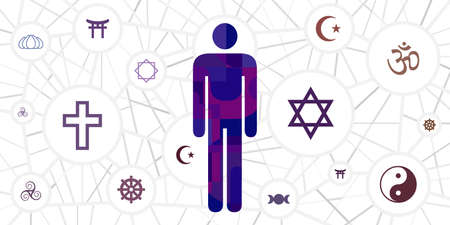 vector illustration of man with spiritual psychological resources symbols