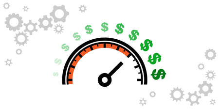 vector illustration of speedometer with dollar signs for financial success and fast money gain concept Иллюстрация