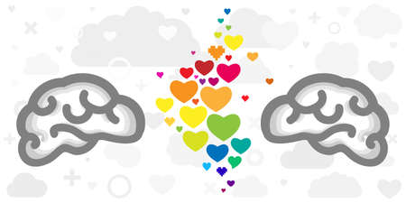 vector illustration of brains and rainbow hearts for friendship and love two people connection