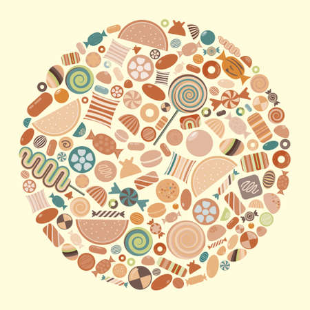 vector illustration of candies and sweets in circle shape design retro vintage colors