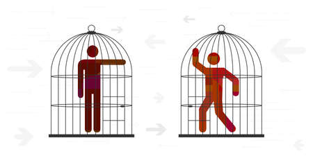 vector illustration limited style of conflict with two people arguing in cages