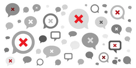 vector illustration of comments and messages with red cross blocking symbol for blocking and muting users