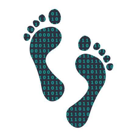 vector illustration of feet and tech pattern for digital footprint in internet symbol