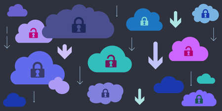vector illustration of clouds with locks for virtual storage safety and downloading files security concept Illustration
