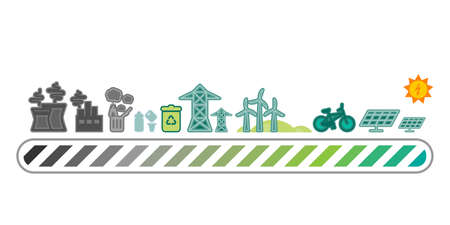 vector illustration of transformation from pollution to ecological life style loading bar