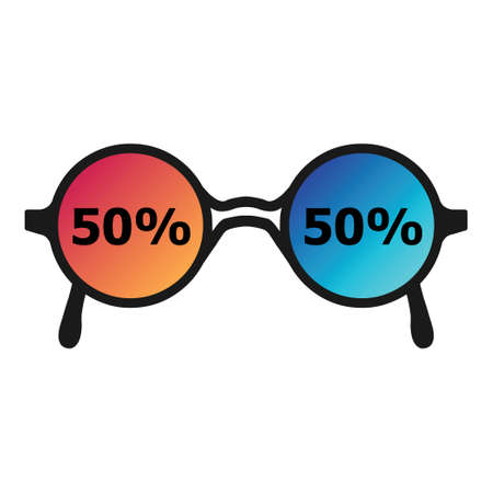 vector illustration with gradient glasses and percentage 50 50 for decision making concept Иллюстрация