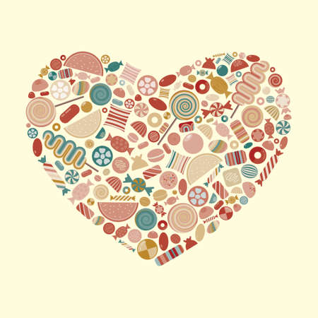 vector illustration of candies and sweets in heart shape design retro vintage colors