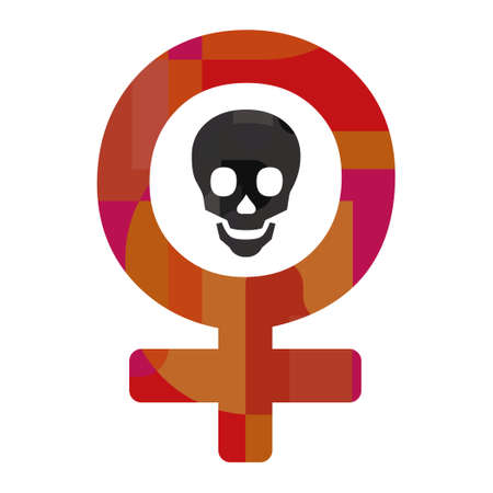 vector illustration of female symbol and skull for femicide and violence concepts