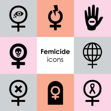 vector icons set for feminist emblems femicide and violence against women pictograms