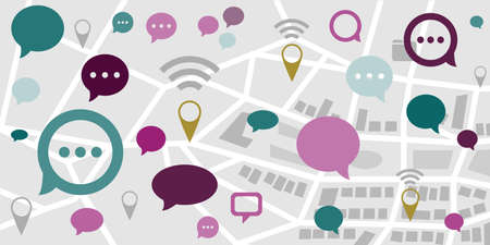 vector illustration of map and speech bubbles messages for location based communication apps Illustration