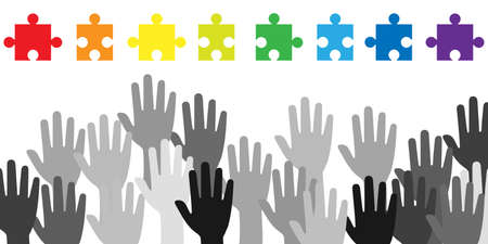 vector illustration of colorful jigsaw puzzle pieces and hands for activism and support organization visual