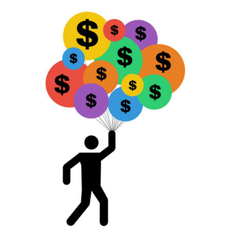 vector illustration of person with balloons and dollar signs for financial success and fast money gain concept