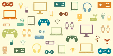 vector illustration of electronic gaming devices in retro vintage colors old style