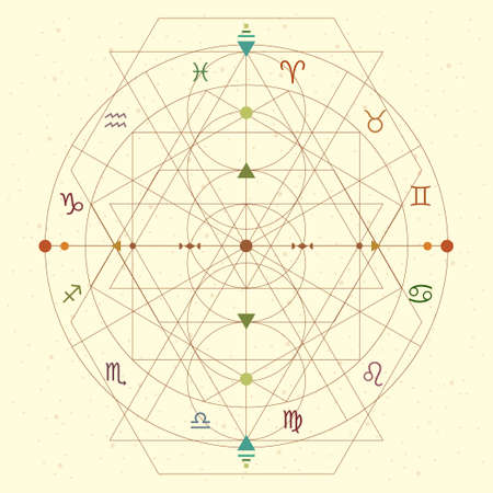 vector illustration of zodiac circle geometric linear design with in retro flat style