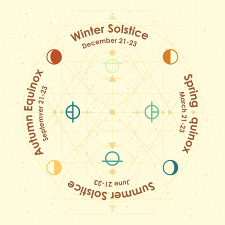 vector illustration of yearly solstices and equinoxes with names in retro style design Иллюстрация