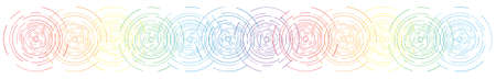 vector illustration of concentric rainbow circles horizontal banner for ripples vibration or waves backgrounds Illustration