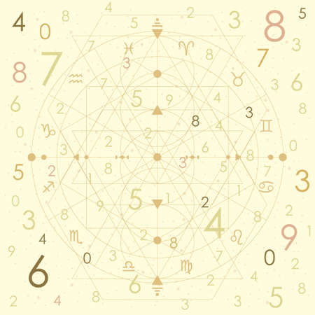 vector illustration of different random number on beige background for numerology in retro vintage style Иллюстрация