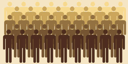 vector illustration of public place or people standing for community or society visual in retro colors 일러스트