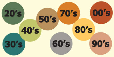 vector illustration of all years in bubbles for last century trends including 60s and 1920s retro vintage colors