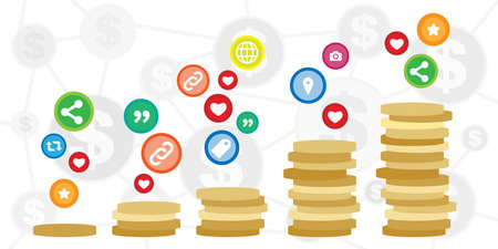 vector illustration of coins and social media symbols for paid ads and advertisement visual