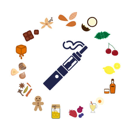 vector illustration of electronic cigarette icon with different flavors and tastes