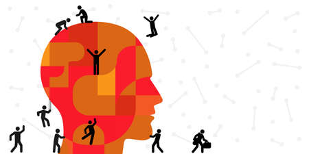 vector illustration of human head and small people silhouettes for psychological problems concept