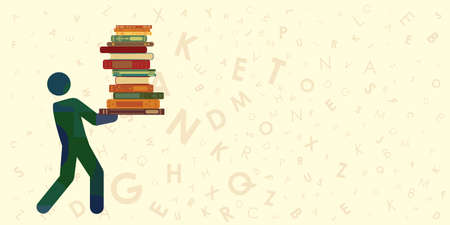 vector illustration of man holding books for education and librarian visuals 矢量图像