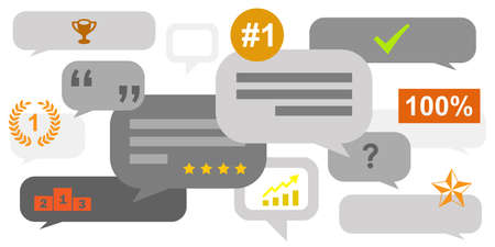 vector illustration for comments and quality symbols for positive feedback visuals