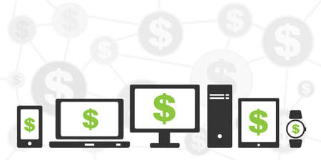 vector illustration of online payments system with money symbols and devices 矢量图像