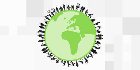 vector illustration of different professions people on planet worldwide job market concept
